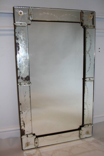 1920`s rectangular Venetian mirror with etched detail.