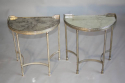 A pair of demi lune silver metal side tables with aged mirror glass tops, French - picture 2
