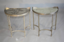 A pair of demi lune silver metal side tables with aged mirror glass tops, French - picture 3