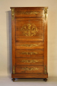 Rosewood and brass inlaid secretaire tall boy - picture 1