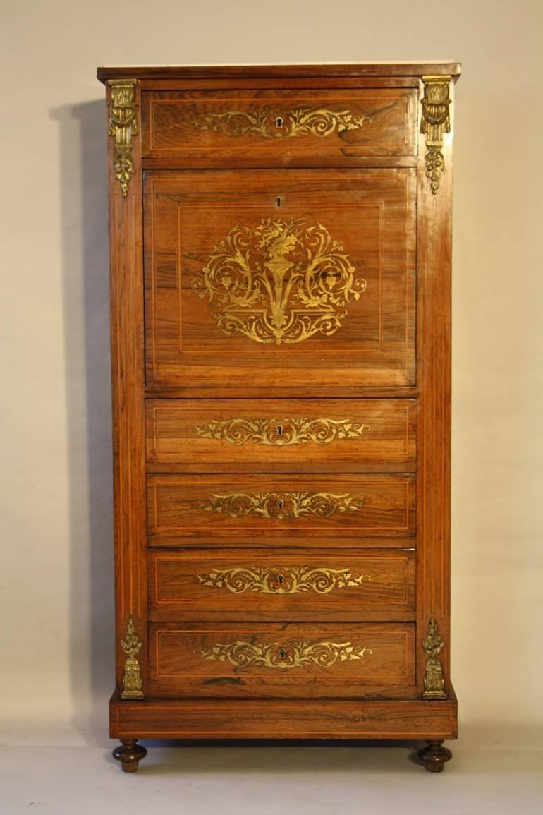 Rosewood and brass inlaid secretaire tall boy