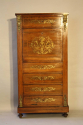 Rosewood and brass inlaid secretaire tall boy - picture 2