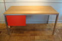 Aluminium and wood desk, c1970 with red lacquered drawer - picture 1