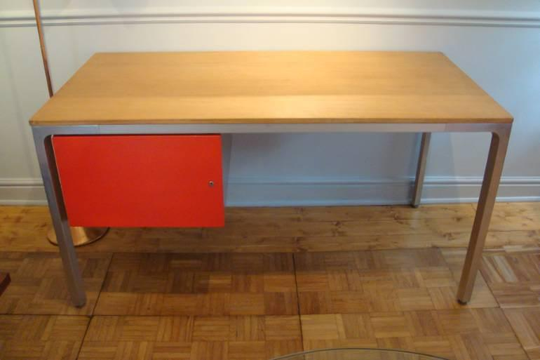 Aluminium and wood desk, c1970 with red lacquered drawer