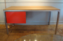 Aluminium and wood desk, c1970 with red lacquered drawer - picture 2