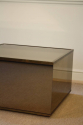 Brown mirror box  coffee table with metal edge. French c1970 - picture 2