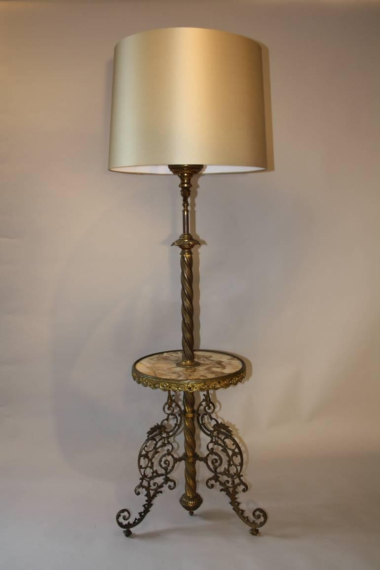 Antique French converted gas floor lamp, c1900