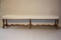 Antique long carved walnut bench, Spanish c1900 - picture 1