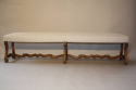 Antique long carved walnut bench, Spanish c1900 - picture 4