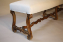 Antique long carved walnut bench, Spanish c1900 - picture 5