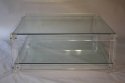 Square two tier lucite coffee table - picture 1