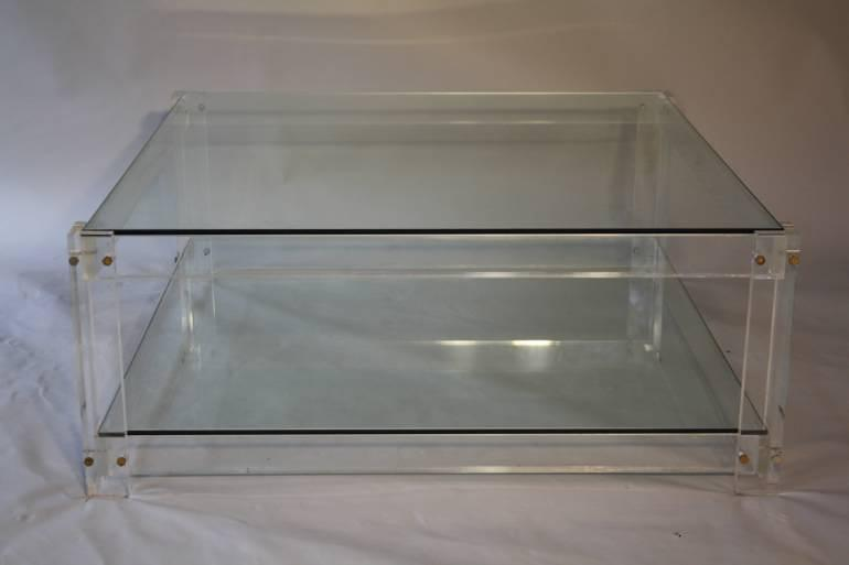 Square two tier lucite coffee table