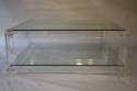 Square two tier lucite coffee table - picture 2