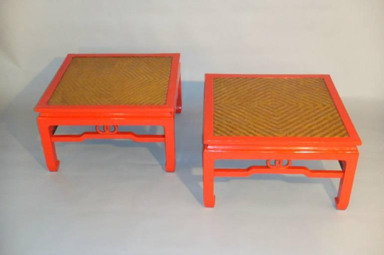 Pair of red lacquer, herringbone reeded end tables, c1970 France