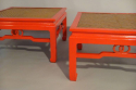Pair of red lacquer, herringbone reeded end tables, c1970 France - picture 2