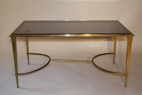 Gilt bronze occasional table with grey mirror glass, French c1950