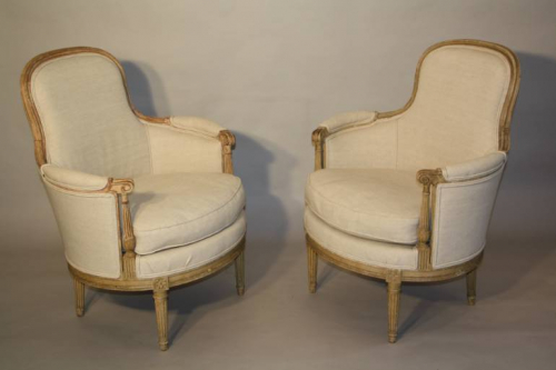 A Pair of French Bergere Chairs.