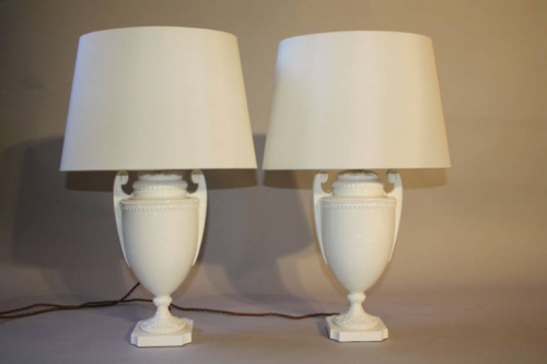 A pair of Royal Worcester creamware urn table lamps, English c1950