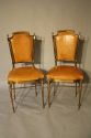 A pair of gilt brass and leather chairs - picture 2