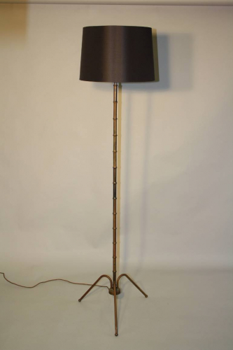 1950`s French brown/black metal bamboo floor lamp