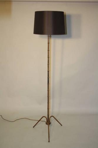 1950`s French brown/black metal bamboo floor lamp