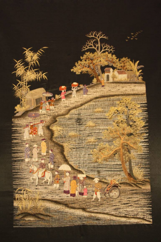 A very unusual black silk Chinese embroidery,