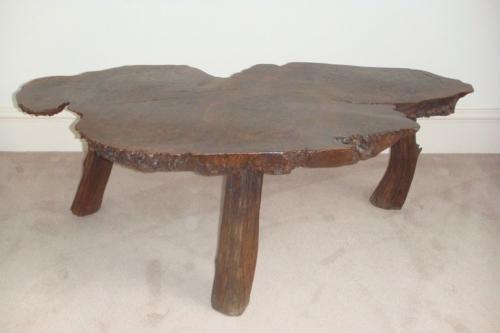 Antique table,  English Burr Elm wood.