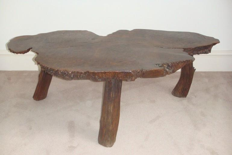 Antique table,  English Burr Elm wood.