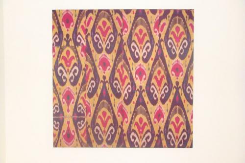 C19th silk Ikat panel from Uzbekistan with rams horn motifs
