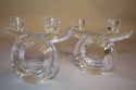 A pair of French crystal glass candlesticks by Vannes, c1960 - picture 2