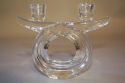 A pair of French crystal glass candlesticks by Vannes, c1960 - picture 3
