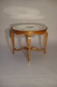 Beautiful French 1940`s carved walnut occasional table with original verre eglomise top and sabot feet. - picture 1