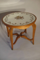 Beautiful French 1940`s carved walnut occasional table with original verre eglomise top and sabot feet. - picture 2