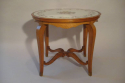 Beautiful French 1940`s carved walnut occasional table with original verre eglomise top and sabot feet. - picture 3