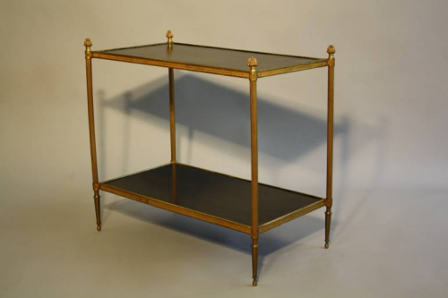 Two tier gilt metal and wood side table with acorn finials, French c1950.