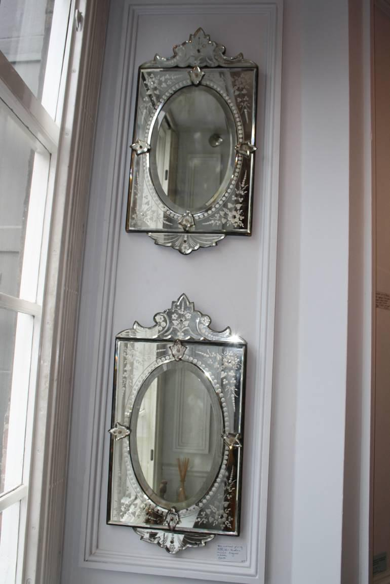 An unusual pair of Venetian mirrors, c1930/40