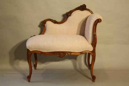 Carved wood petite chaise