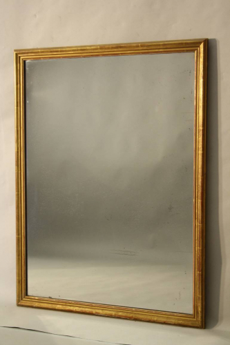 French C19th antique mercury glass overmantle mirror.