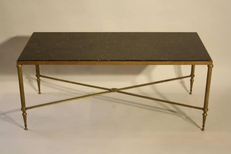 A fossil marble top table on bronze base, French c1950