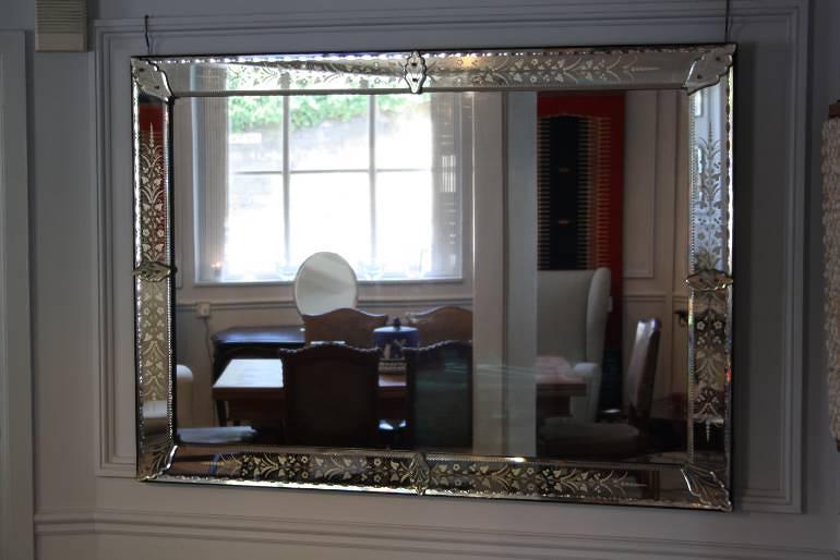 Antique Venetian rectangular mirror