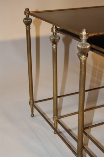 French gilt brass and vitrolite glass nest of tables, 1950