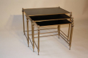 French gilt brass and vitrolite glass nest of tables, 1950 - picture 2