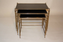 French gilt brass and vitrolite glass nest of tables, 1950 - picture 3