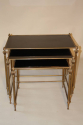 French gilt brass and vitrolite glass nest of tables, 1950 - picture 4