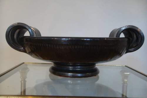 Vallauris brown glazed bowl, French c1950