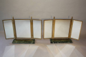 A pair of Art Deco style gilt brass triptych dressing table mirrors - picture 1