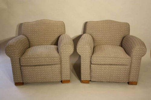 A pair of French 1930`s club chairs