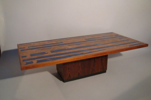 Rosewood, copper and blue resin table, Danish c1960