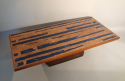 Rosewood, copper and blue resin table, Danish c1960 - picture 2