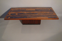 Rosewood, copper and blue resin table, Danish c1960 - picture 3